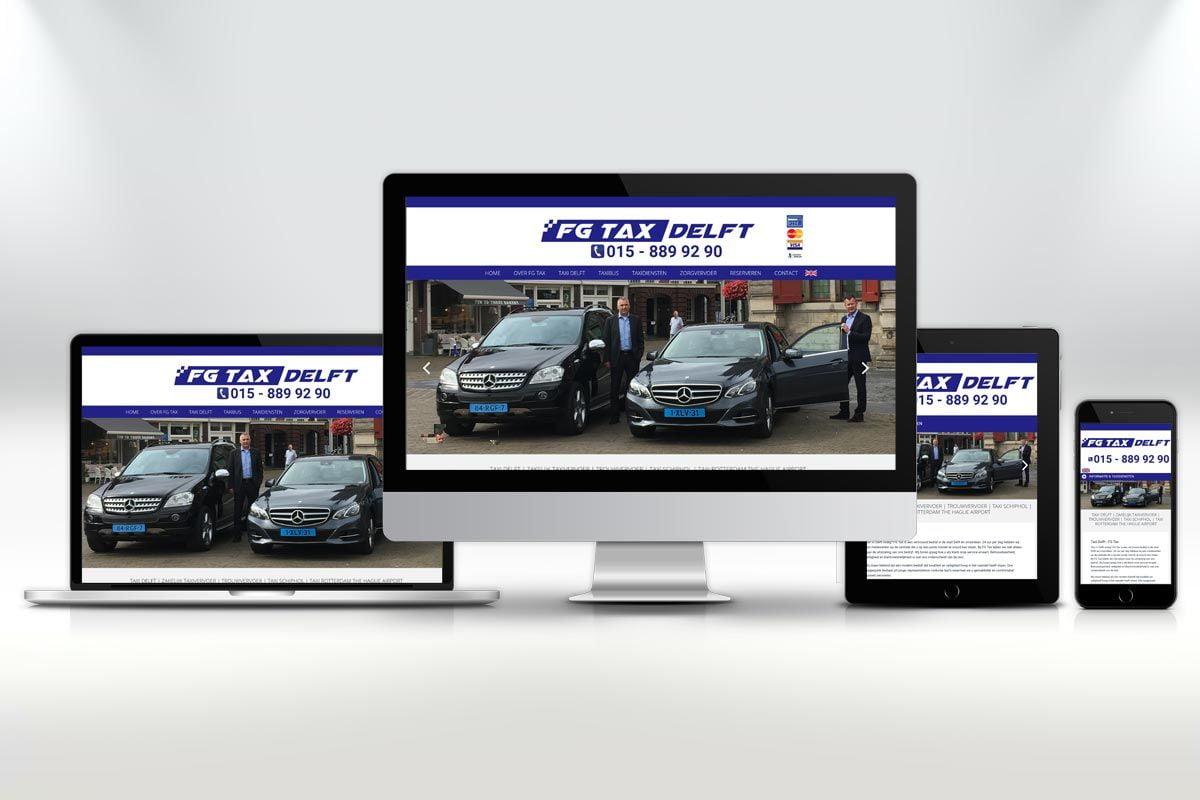 Website ontwerp en zoekmachine optimalisatie website FG Taxi Delft